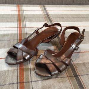 Nicole pewter wood heel sandal NWOT size 6.5